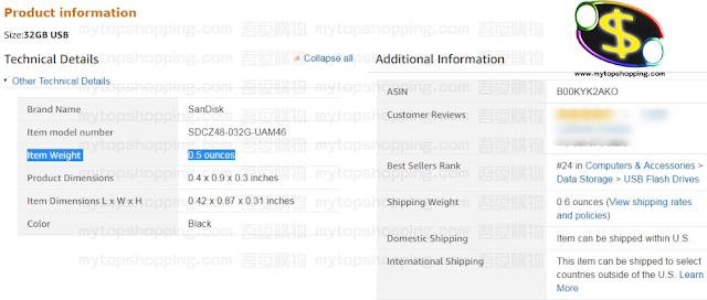美國Amazon網站也會顯示貨品重量