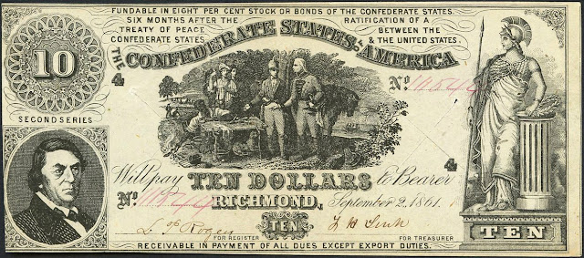Confederate States of America Currency 10 Dollar Note 1861 Sweet Potato Dinner