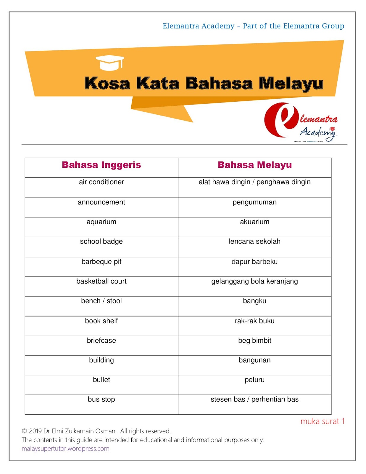 Malay Language Tuition Malay Tutor Malay Tuition Singapore Essential Malay Words And Phrases For Upper Primary And Lower Secondary School Primary 5 To Secondary 2 Students