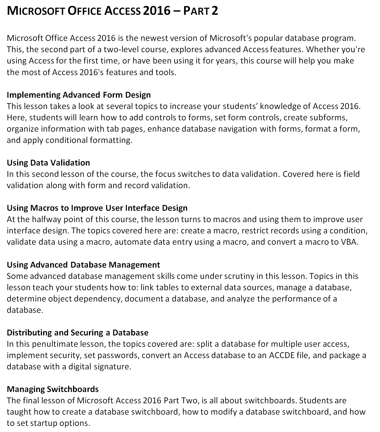 Mouse Training London Ltd: Microsoft Office - Access 2016