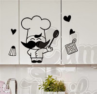 vinilo decorativo pared cocina cocinero, divertido