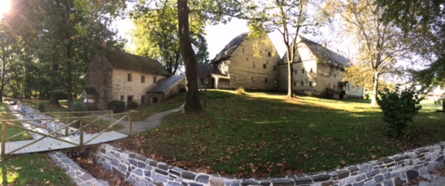 Panoramic view of Saron Saal and Bakery at Ephrata Cloister