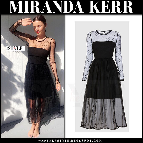 Miranda Kerr in sheer black tulle polka dot dress marella what she wore cocktail dress
