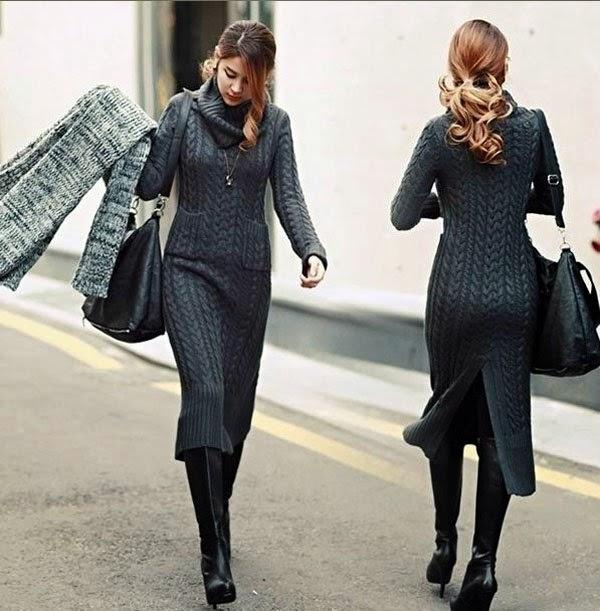 идеи теплых вязаных платьев 6