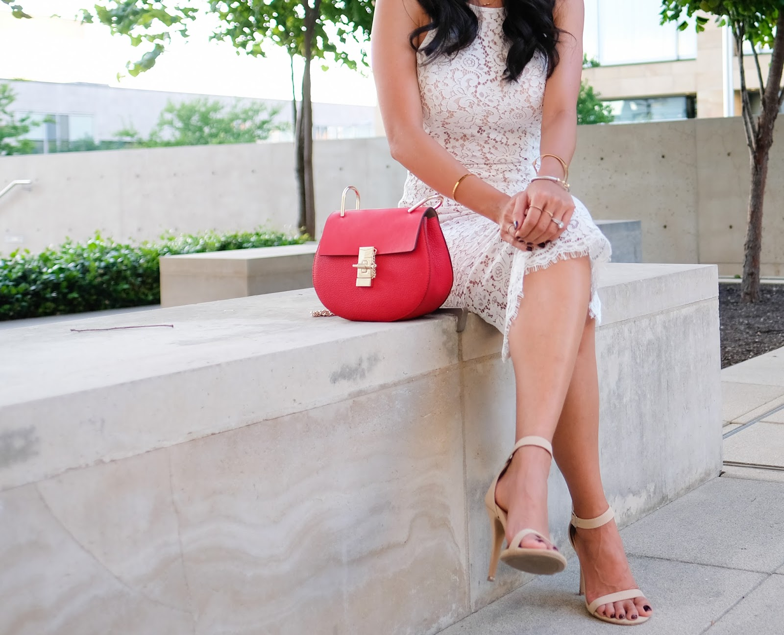 the lace white midi dress