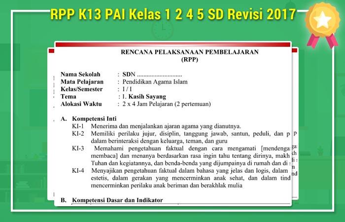 RPP K13 PAI Kelas 1 2 4 5 SD Revisi 2017