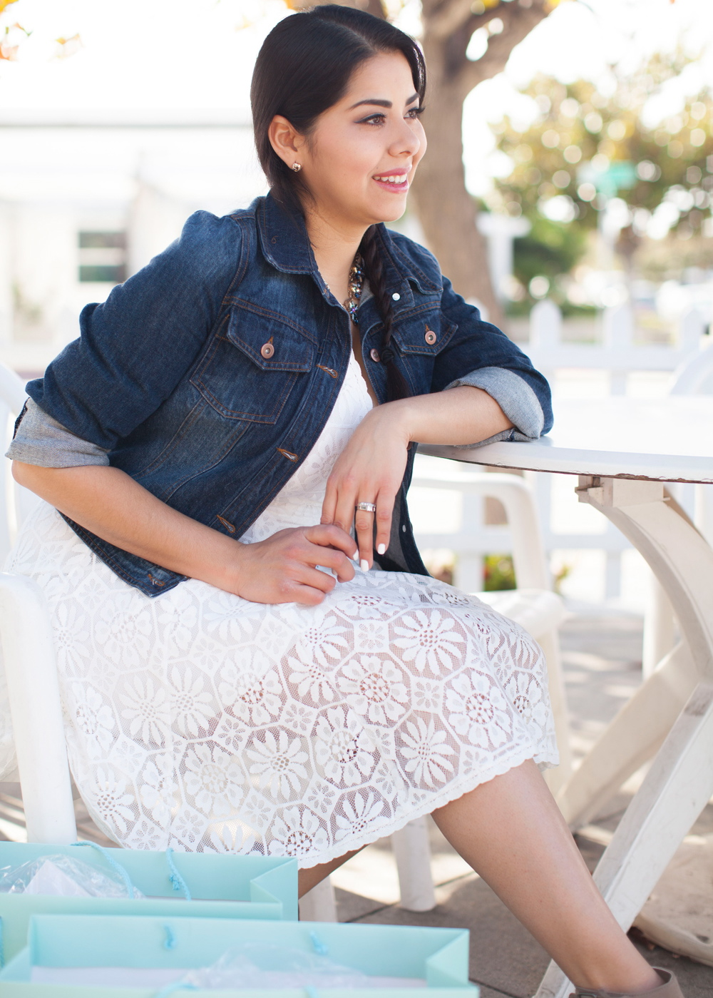 sunny day outfit, cool white dresses, casual white dress, denim jacket, jean jacket outfit