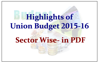 Highlights of Union Budget 2015-16