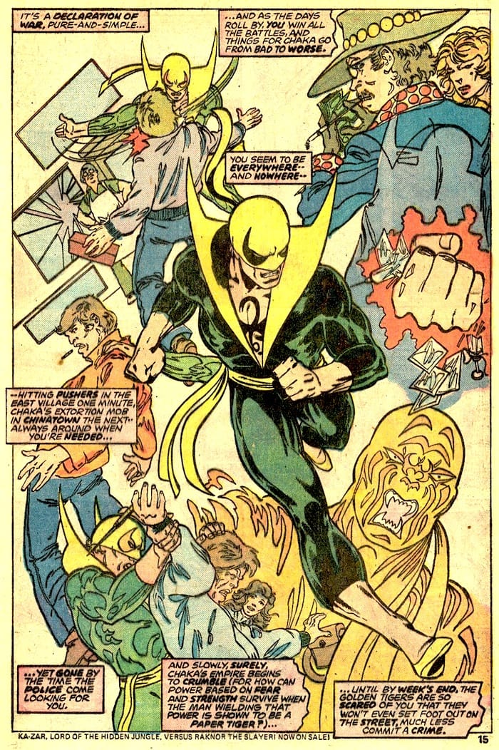 Iron Fist #10 bronze age 1970s marvel comic book page art by John Byrne