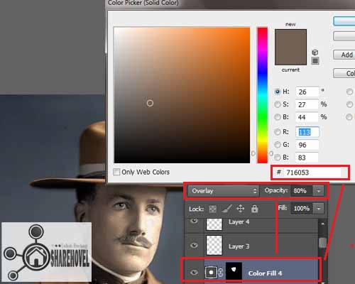 atur solid color, blending mode dan juga opacity layer