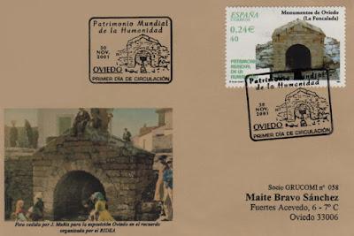 Tarjeta del matasellos PDC del sello de Monumentos de Oviedo, La Foncalada, de la serie Patrimonio Mundial de la Humanidad.