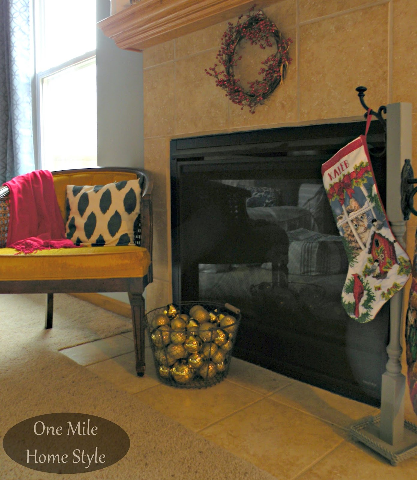 Sitting Area and Stockings by the fireplace