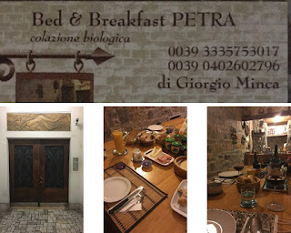 various pictures of B&B Petra in Trieste Italy including breakfast, the front door and a business card