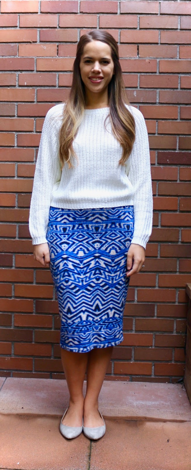 Jules in Flats - Midi Skirt with Cropped Sweater (Business Casual Fall Workwear on a Budget)