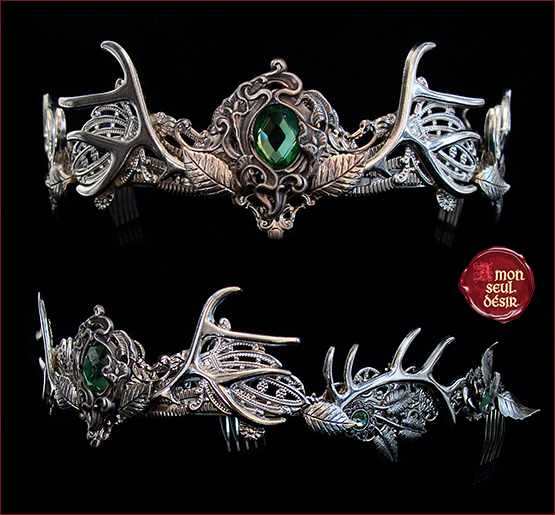 couronne cerf diademe bois de cerf foret vert tiare elfique feerique Baratheon crown woodland fairy elven circlet green antlers deer faun nymph tiara vegetal forest