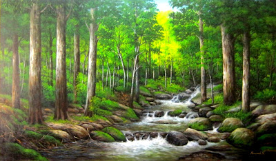 Lukisan Sungai Berbatu Cikimm Com