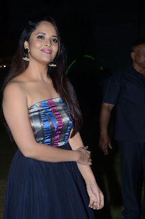 Anasuya Looks super cute in a shoulder less sleeveless top and skirt at Balakrishudu Audio Launch event