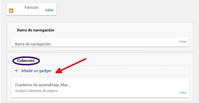 Añadir un gadget en la cabecera del blog