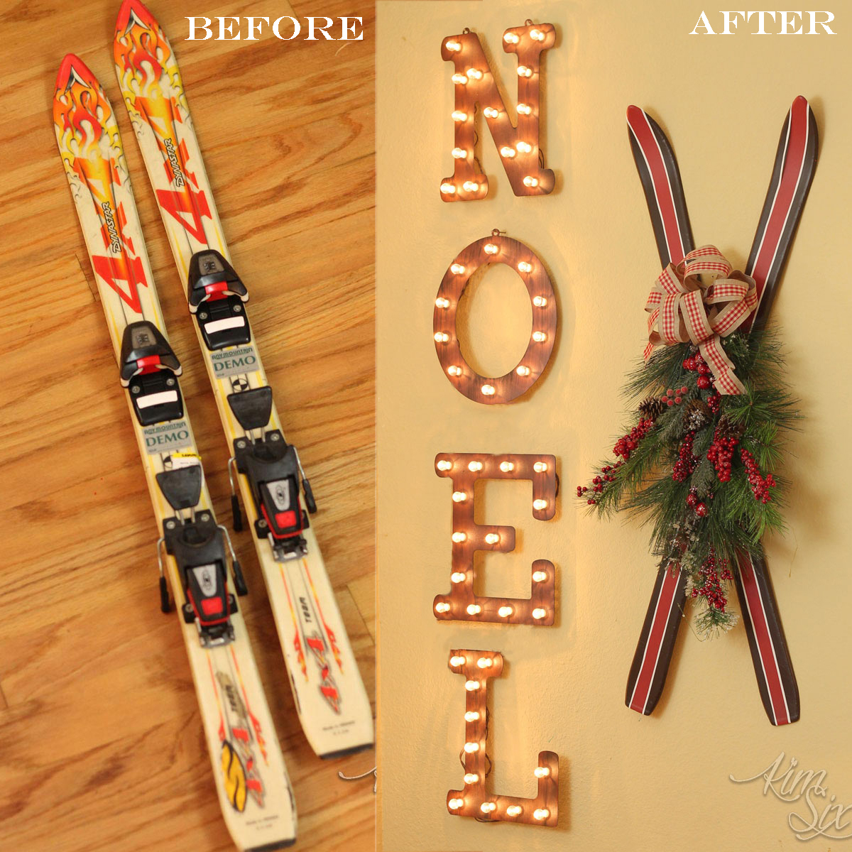 Painted Thrift Store Ski Makeover - The Kim Six Fix