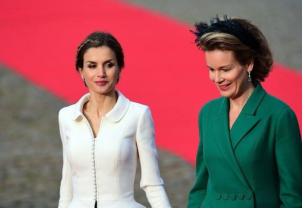 Queen Letizia of Spain is welcomed by Belgium's Queen Mathilde