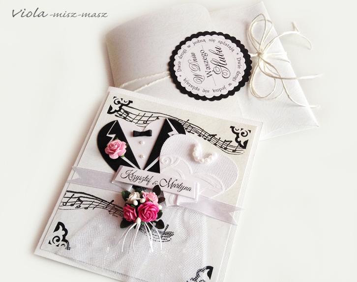 kartka ślubna z serduszkami