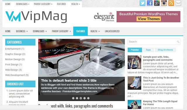 VipMag Free Blogger Template /Theme