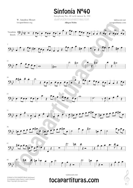 2  Symphony Nº40 de Mozart Sheet Music for Trombone and Euphonium Music Scores