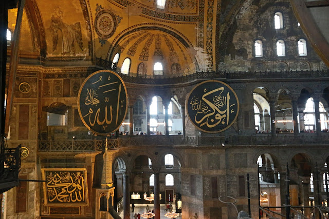 Artistic meeting of Islamic and Christianity in Hagia Sophia at Sultanahmet in Istanbul, Turkey