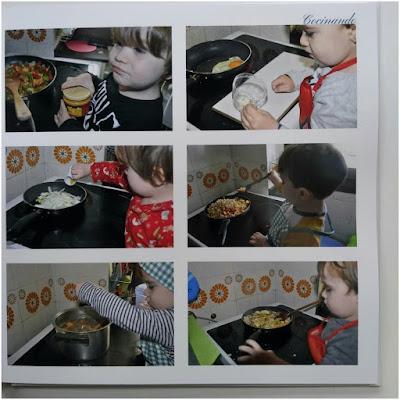 6 fotografías de niño ( pixelillo) cocinando con fogones bajo vigilancia de adulto