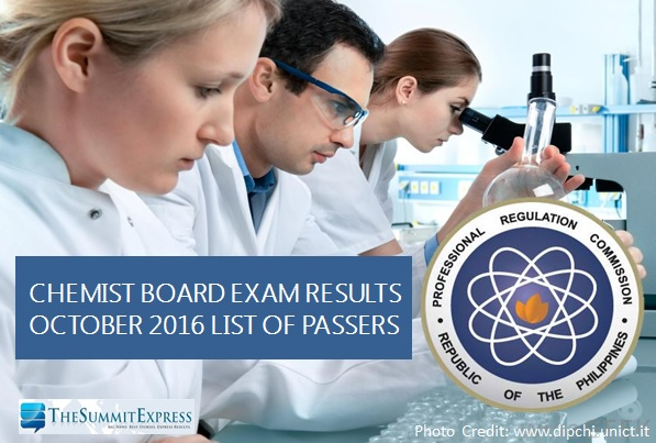 List of Passers: October 2016 Chemist board exam results
