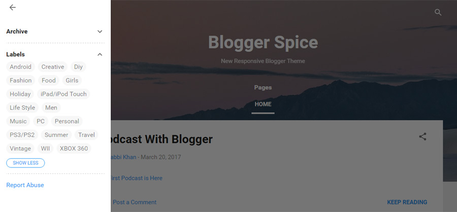 Vertical Slide Menu in blogger theme