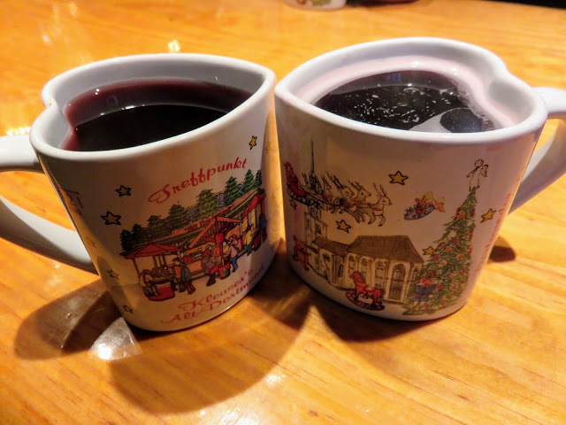 Heart shaped gluehwein mugs at the Christmas Market in Dortmund in the North Rhine-Westphalia region of Germany