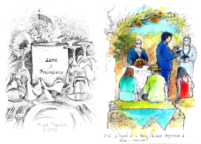 Matrimonio en Vinedo - La mesa y la espera de la novia - croquis de Erika Brandner