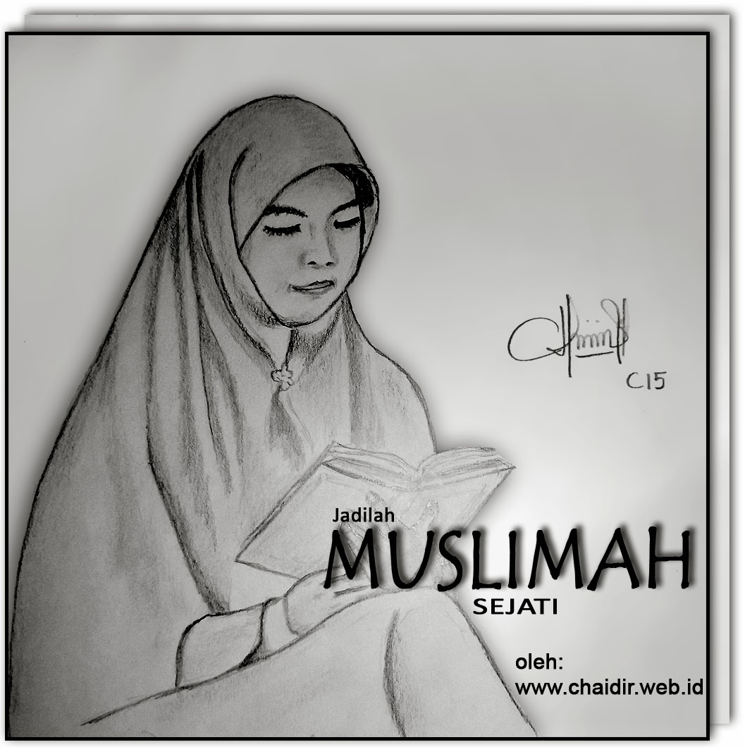 Sketsa Gambar Wanita Hijab Sobsketsa