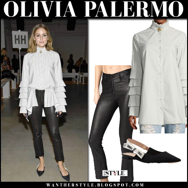 Olivia Palermo in stripe pleat sleeve button blouse, black leather pants and black slip on dior ballerinas new york fashion week september 2017
