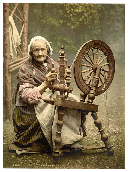 vintage pig clip art: Old Victorian Women Spinner Photo