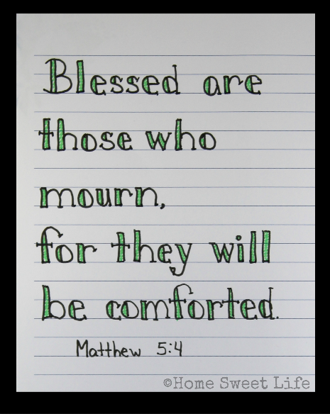 Scripture Writing, hand lettering, Matthew 5:4, Holy Week