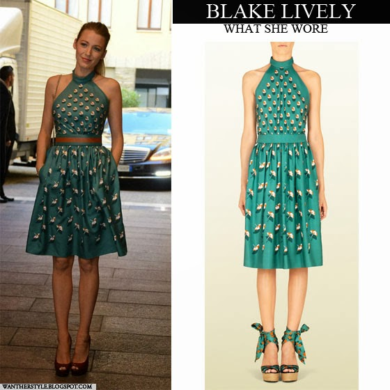 0eba015d74 Blake Lively in turquoise green umbrella print halter dress by Gucci Want  her style