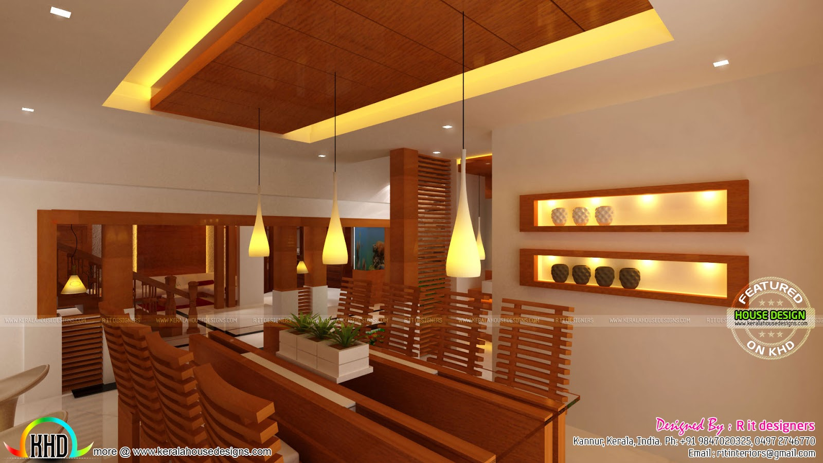 Wooden finish interior designs kerala home design and for Home plans with interior pictures