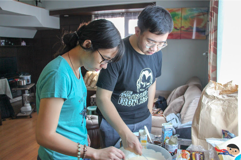 Almae Dael and Emil Ong working on the sweets, Hobby Day 2