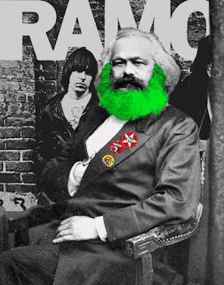 """Siccome non ho trovato immagini con uno schemino della sodomia per rappresentare """"le inculate"""", mi sono lanciato in un fotomontaggio che non so quanto tempo mi abbia portato via. XD - Karl Marx nel suo classico ritratto, con un poster dei Ramones sullo sfondo e, sulla giacca, le spille dei Clash, dei Rancid e dei Toy Dolls"""