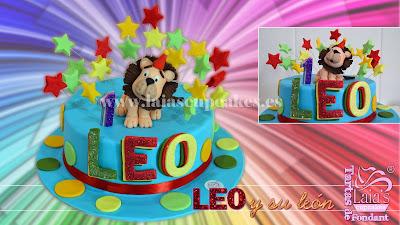 tarta personalizada fondant modelado león circo estrellas laia's cupcakes puerto sagunto
