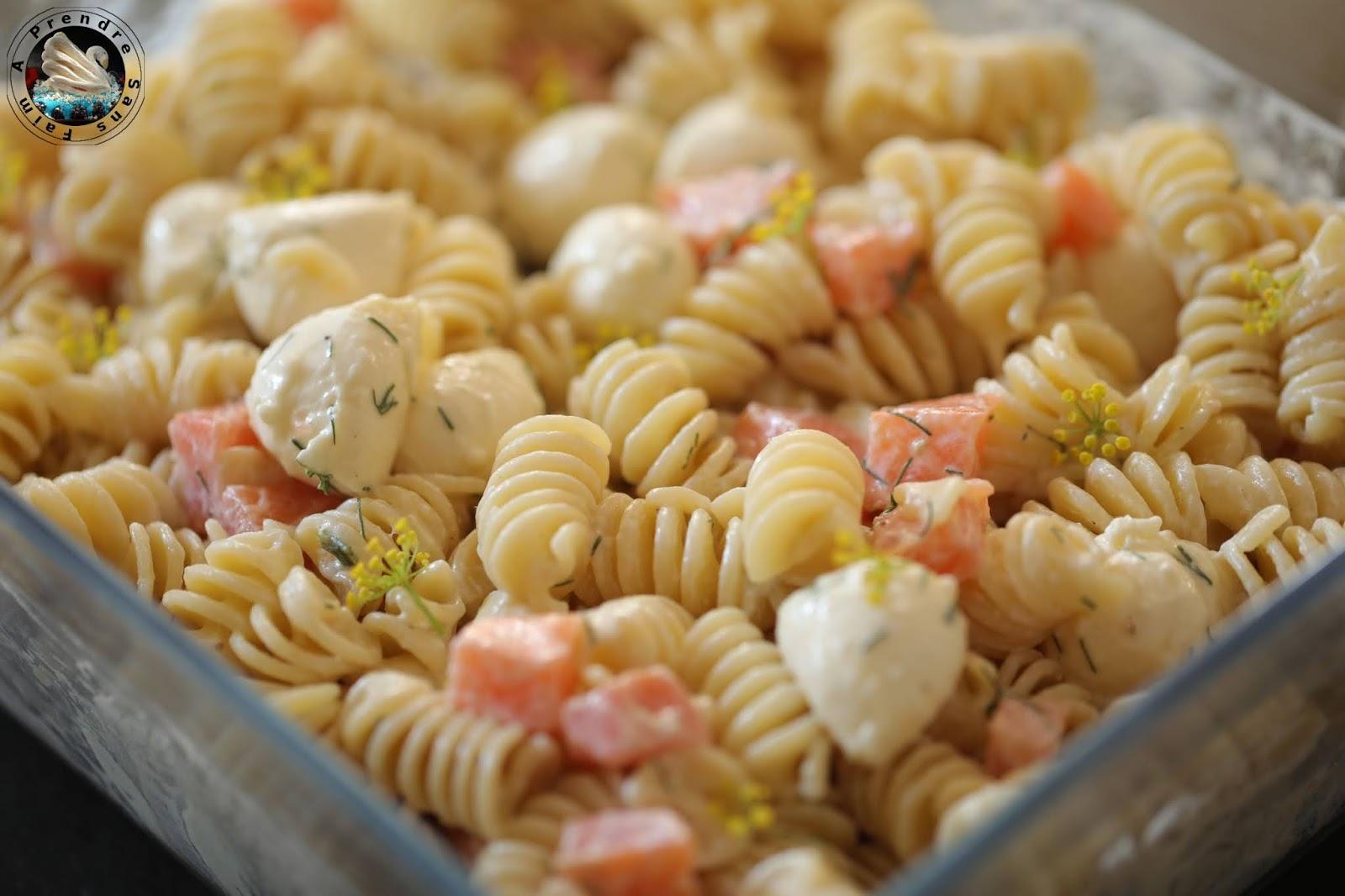 Salade de pâtes froides saumon mozzarella