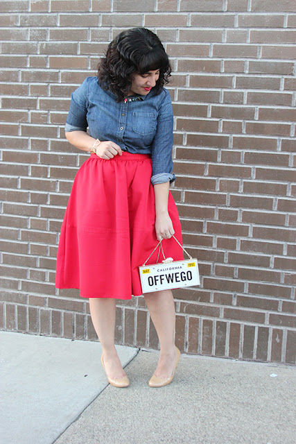 Blue Denim Chambray, Red Midi Skirt and White Clutch Outfit