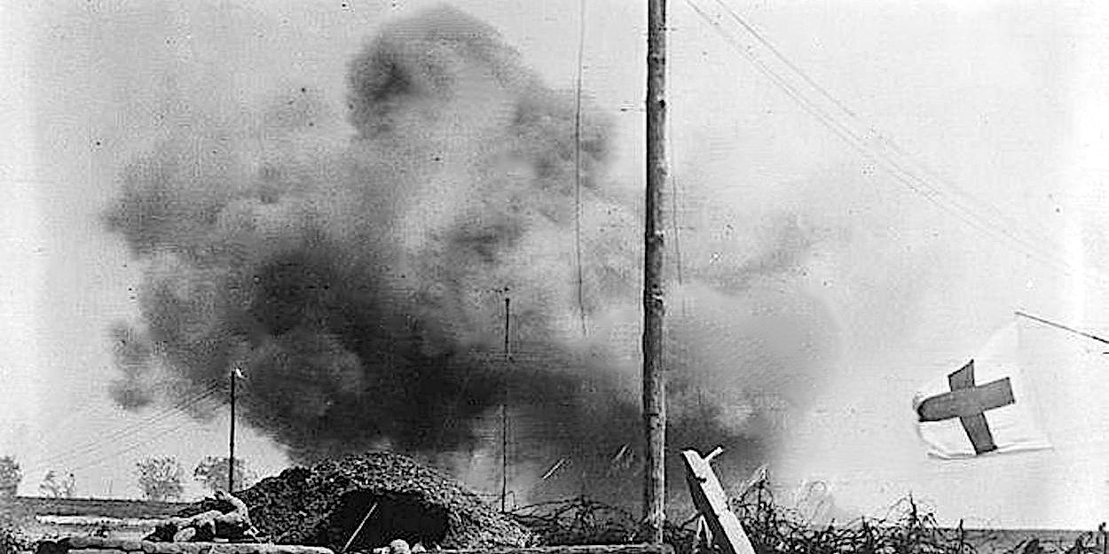 Exploding artillery shell