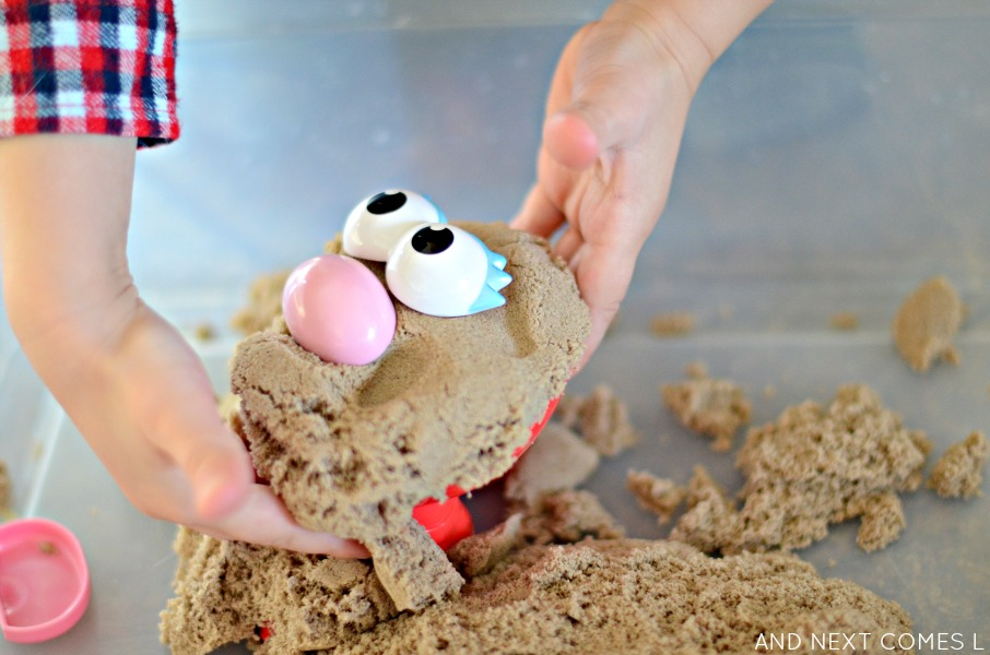 Kinetic sand potato head sensory play for toddlers & preschoolers from And Next Comes L