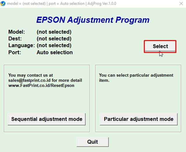 seleccionar el modelo de la impresora epson