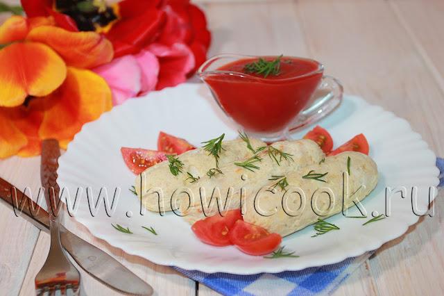 рецепт домашних куриных сосисок