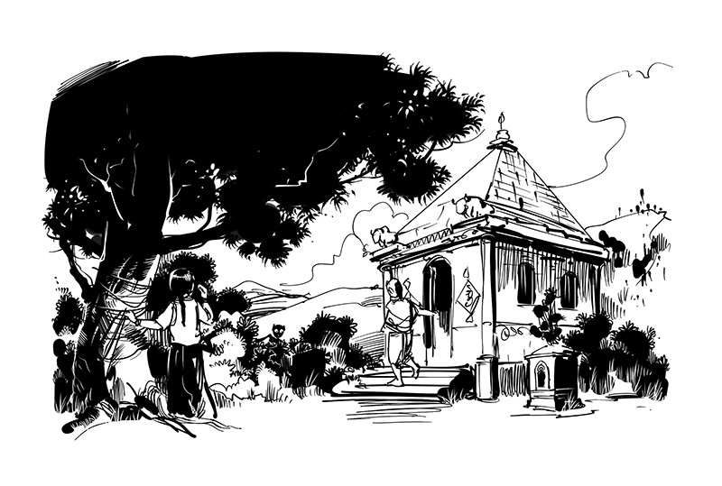 old temple kids book black and white illustration