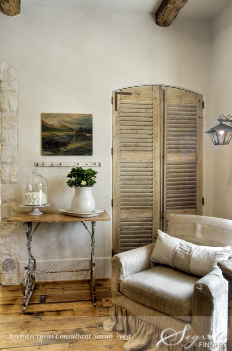 Antique wood shutters, Segreto Finishes plaster walls and design details in a beautiful French country home with Old World style.